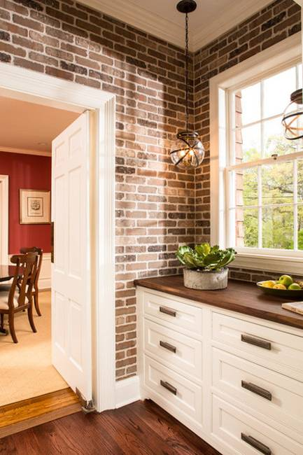 White Faux Brick Backsplash