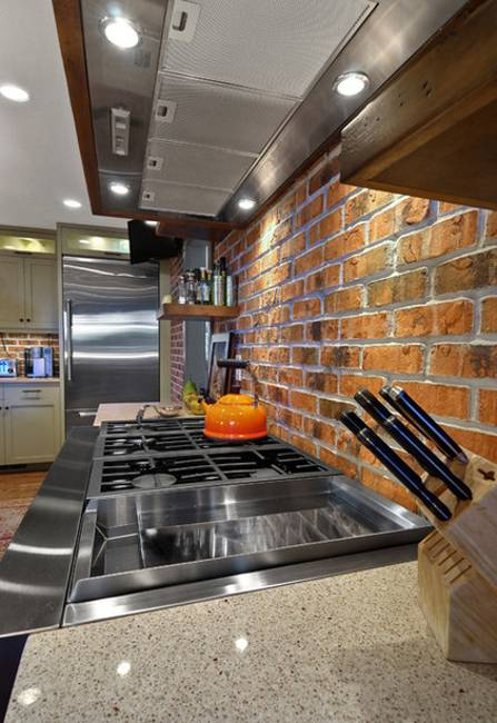 Modern Kitchen Decor With Brick Walls 25 Interior