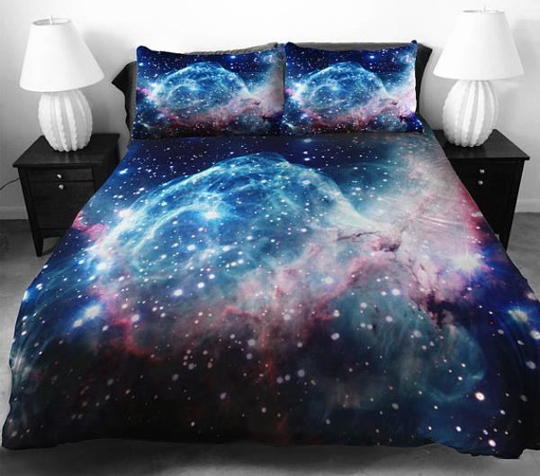 colorful bedding fabric for cosmos inspired bedroom decor theme