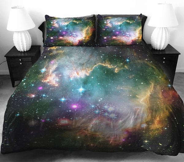 Superb Cosmos bedding set in black color modern bedroom decor theme