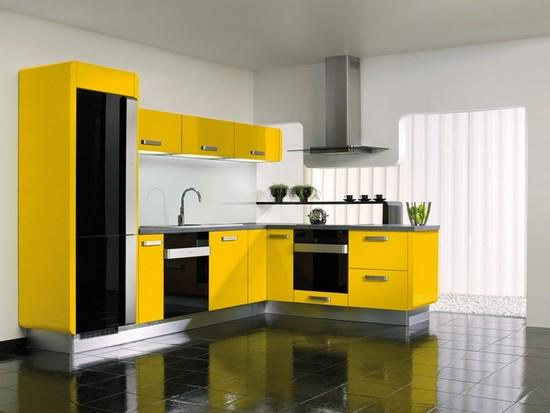 Country kitchen design in yellow, black and purple colors in Mediterranean  style