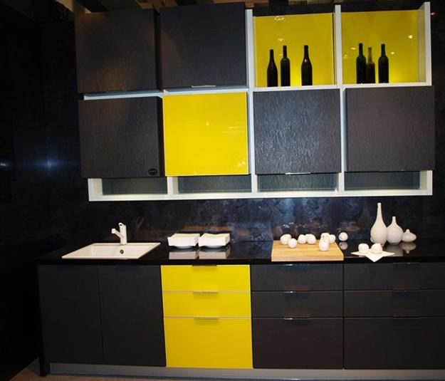 modern kitchen design in yellow and black