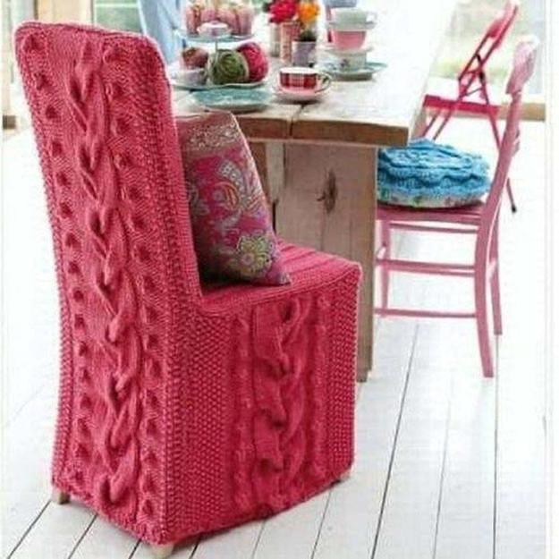 winter decorating with hand knitted items