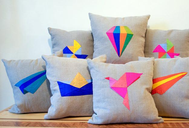 bird images, pillow appliques