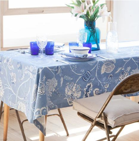 tablecloth in white and blue colors with floral designs