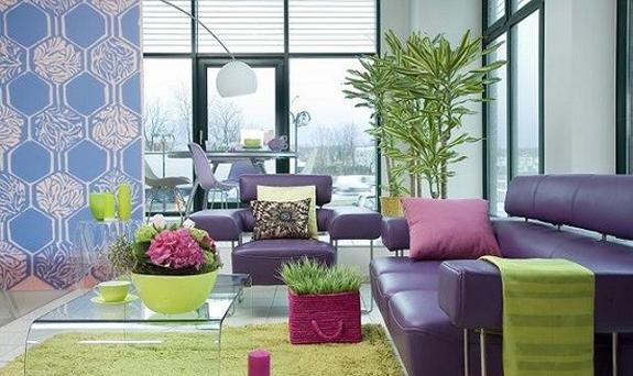 modern living room design with decor accessories in green colors and red wine color