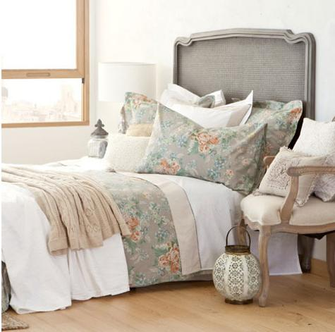 floral bedding set and white linens