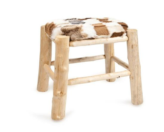 rustic wood stool with fur seat cushion