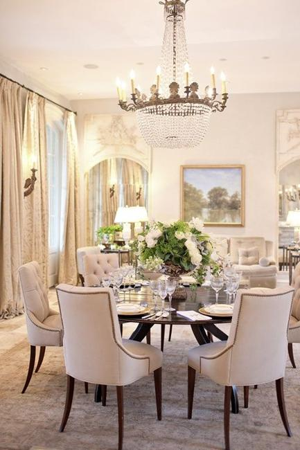 Classic Dining Room Decorating With Vintage Furniture And Large Crystal  Chandelier