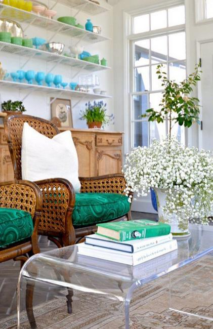 interior decorating with hreen accessories, furniture upholstery fabric and green paint color