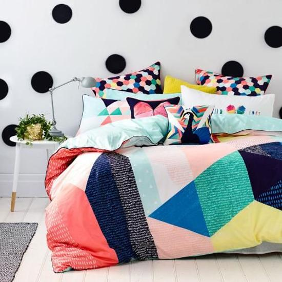 modern bedding fabrics with geometric prints