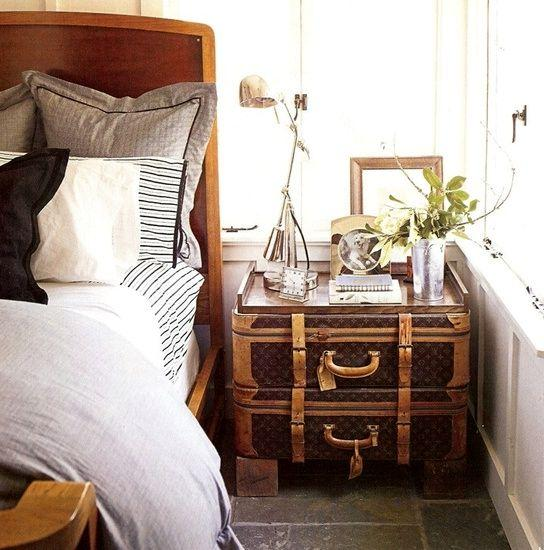recycling old suitcases for home furnishings in vintage style