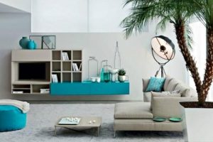 modern interior decorating with turquoise colors