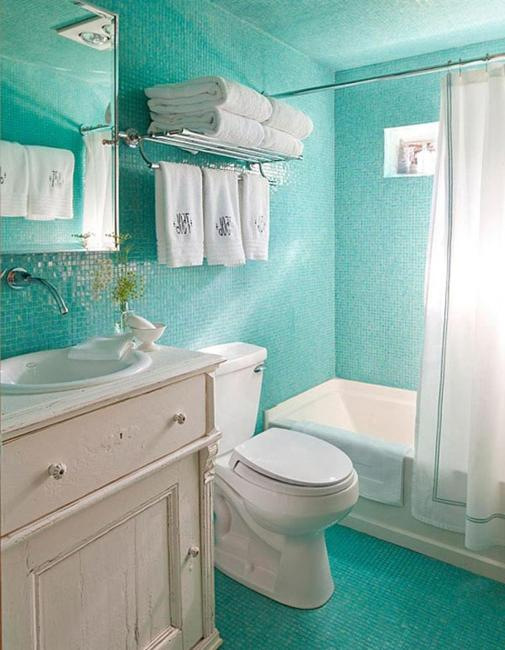 20 home decor ideas and turquoise color combinations for Aqua colored bathroom ideas