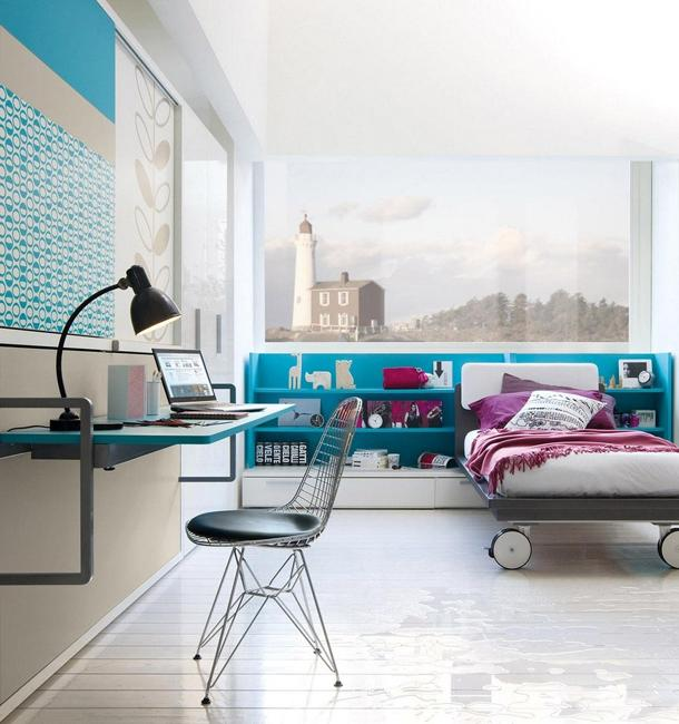 20 home decor ideas and turquoise color combinations for Blue green purple room