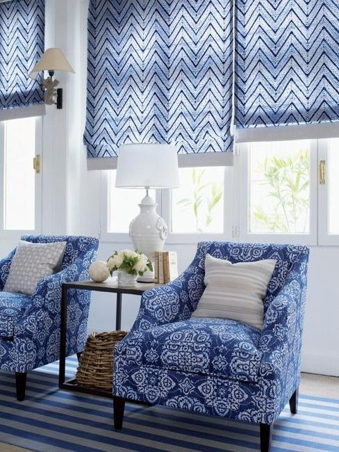 Blue Furniture Living Room Ideas: 25 Modern Roman Shades For Beautiful Room Decorating
