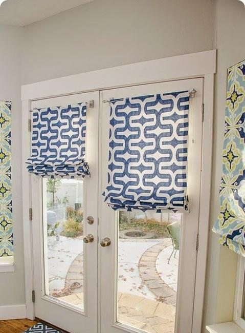Door Decoration With Roman Shades In White And Blue Colors