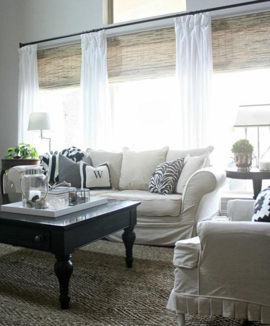 White Roman Shades Dining Room