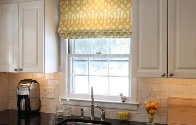 Epic Modern kitchen decor with fabric roman shades