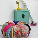 room furniture and decor accessories made with colorful patchwork fabrics