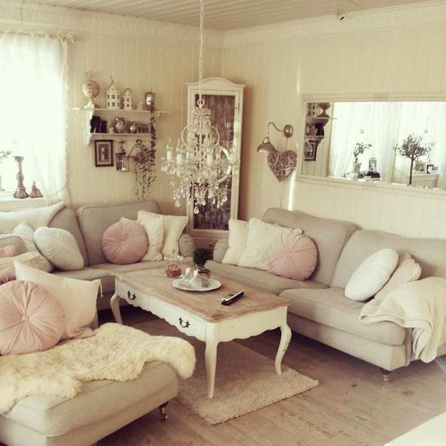 shabby chic interiors blending white decorating and pastel colors