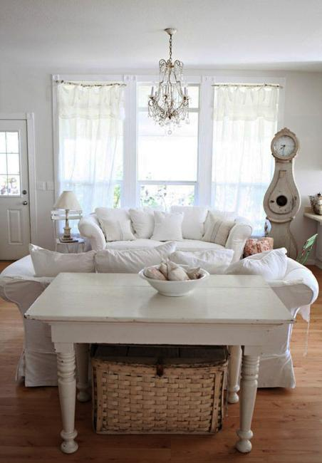 white decorating ideas for shabby chic living room