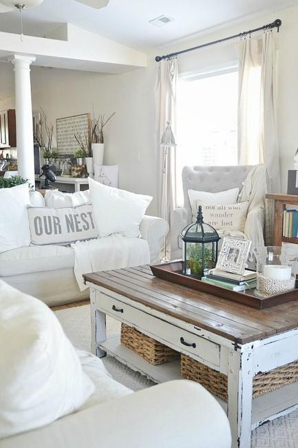 shabby chic interiors decorated in white, gray and brown colors