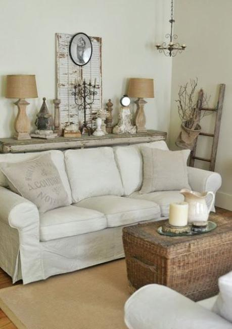 vintage shabby chic living room furniture mixing gray and brown colors with white decorating ideas 26965