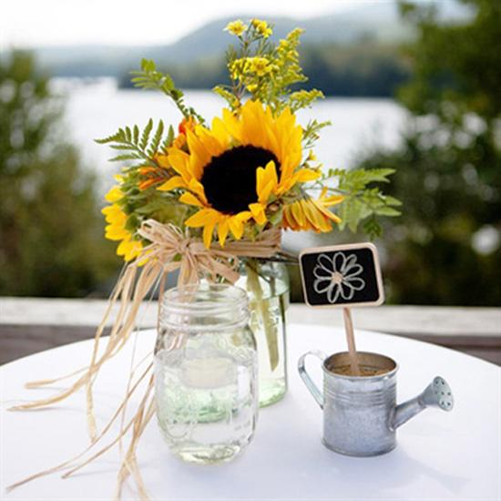 Country Wedding Centerpieces Ideas: 30 Sunflowers Table Centerpieces Adding Sunny Yellow Color