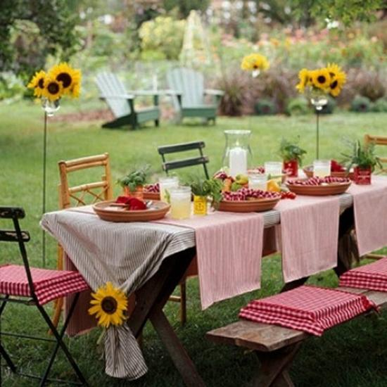 Bright Yellow Color And Sunflowers, Summer Party Table Decoration Ideas