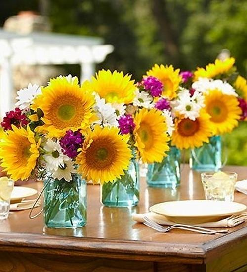 Summer Wedding Centerpiece Ideas: 30 Sunflowers Table Centerpieces Adding Sunny Yellow Color