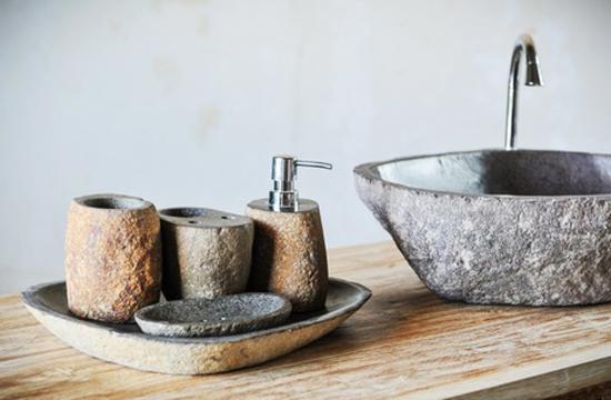 Stone Bathroom Sink And Small Bathroom Accessories