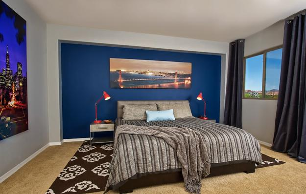 Panoramic City Photography On Walls Painted Soft White And Vibrant Blue  Colors, Modern Bedroom Decorating