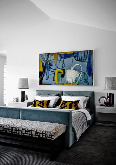 Amazing Blue Colors And Large Paintings For Modern Bedroom Decorating