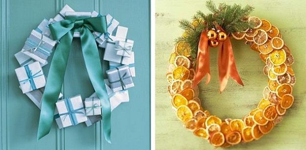cheap ideas for christmas decorating, homemade christmas wreaths