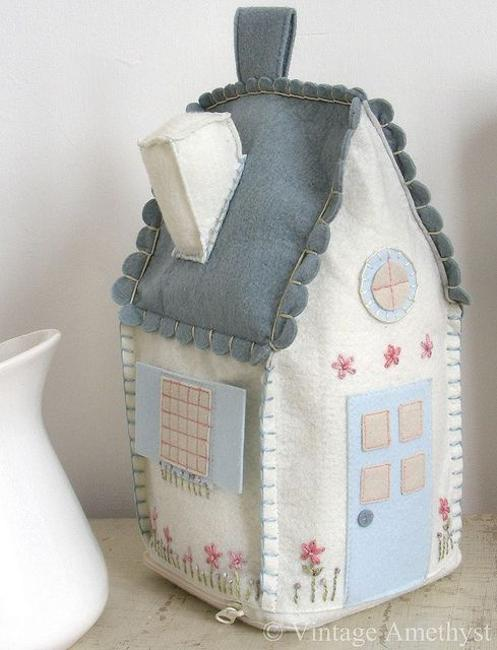 Made With Fabric Birdhouse For Interior Decorating, Craft Ideas For Handmade  Home Decorations