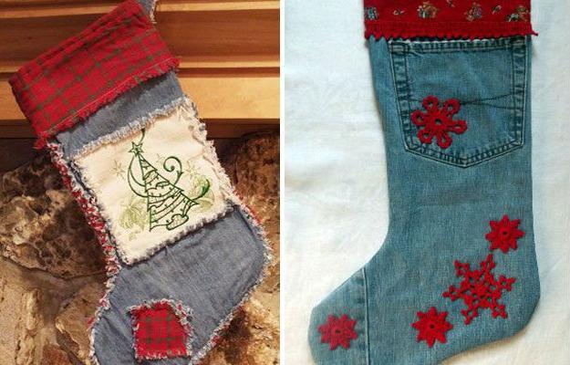 Denim Fabric Craft Ideas For Creative Christmas Decorating