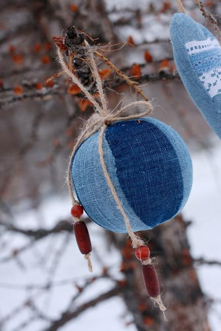 denim christmas balls with twine loops