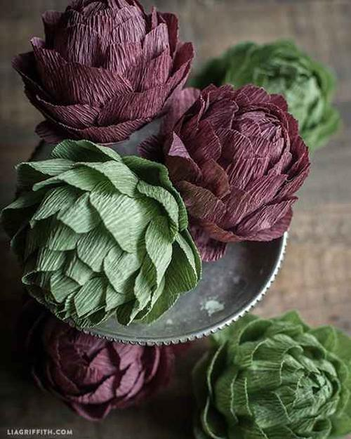 green and purple colors for fall decor