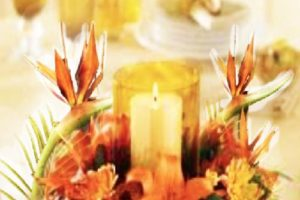 leaves and candle centerpiece