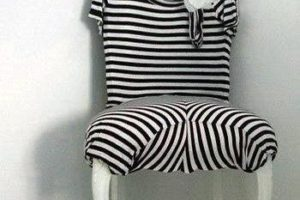 black white stripes chair upholstery