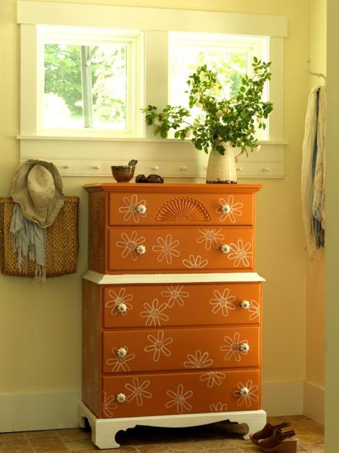 chest of drawers painted accents