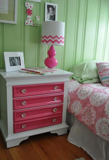 white and pink nightstand