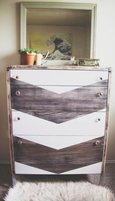 wooden chast of drawers painted gray and white