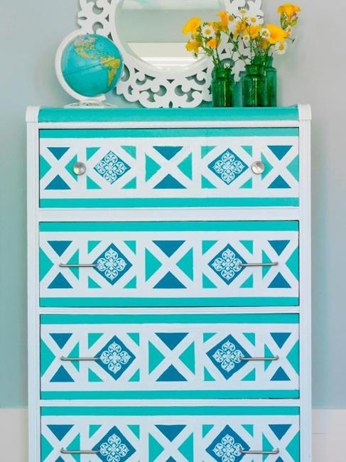 geometric pattern furniture painting