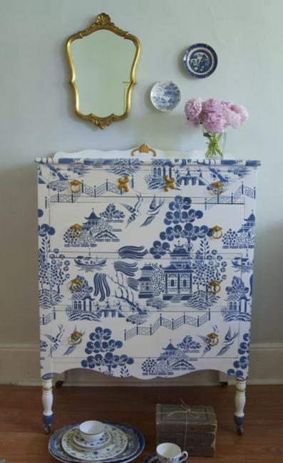 vintage furniture painting in white and blue