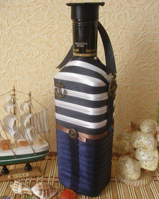 blue and white stripes on bottle