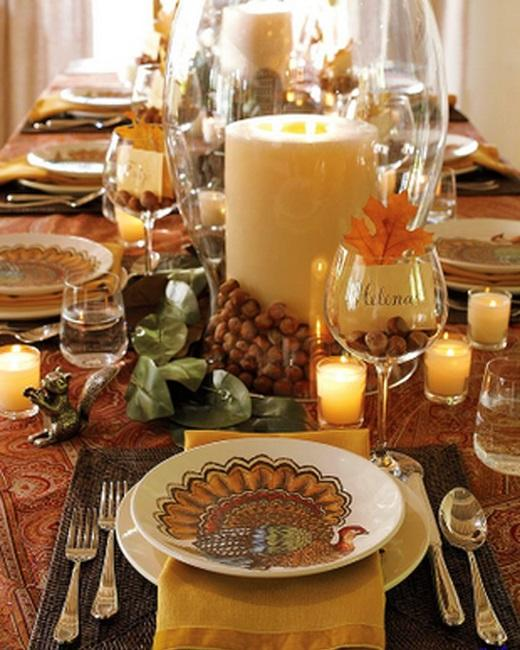turkey plate candles