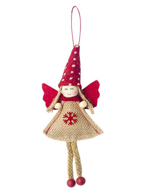 burlap angel red wings snowflake