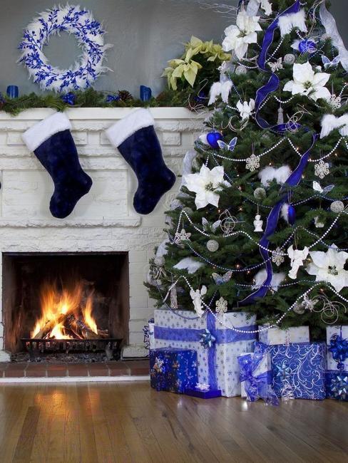 poinsettia floral christmas tree decorating idea